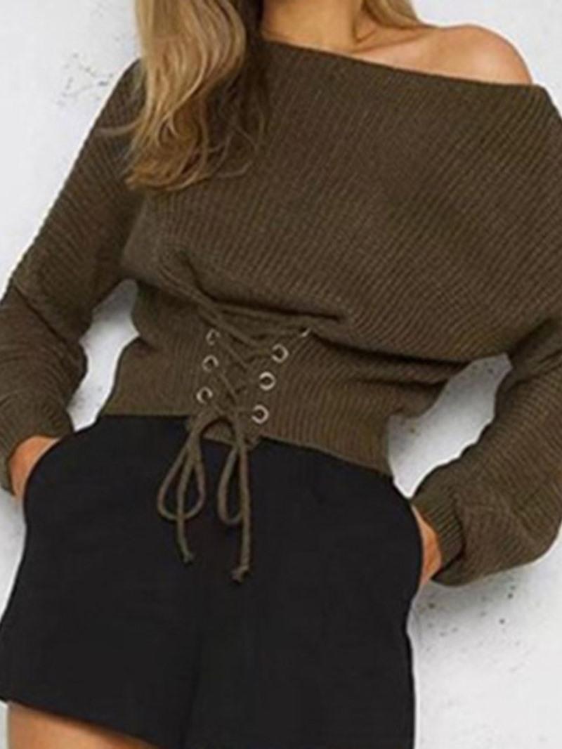 Ericdress Lace-Up Regular Slim Long Sleeve Sweater