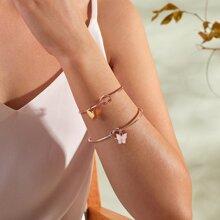 2pcs Butterfly Charm Twist Bracelet