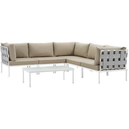 Harmony Collection EEI-2627-WHI-BEI-SET 6-Piece Outdoor Patio Aluminum Sectional Sofa Set with Coffee Table  3 Corner Sofas and 2 Armless Chairs in