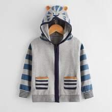 Jacke mit Karikatur & Streifen Muster, Taschen, Reissverschluss und 3D Ohr Design