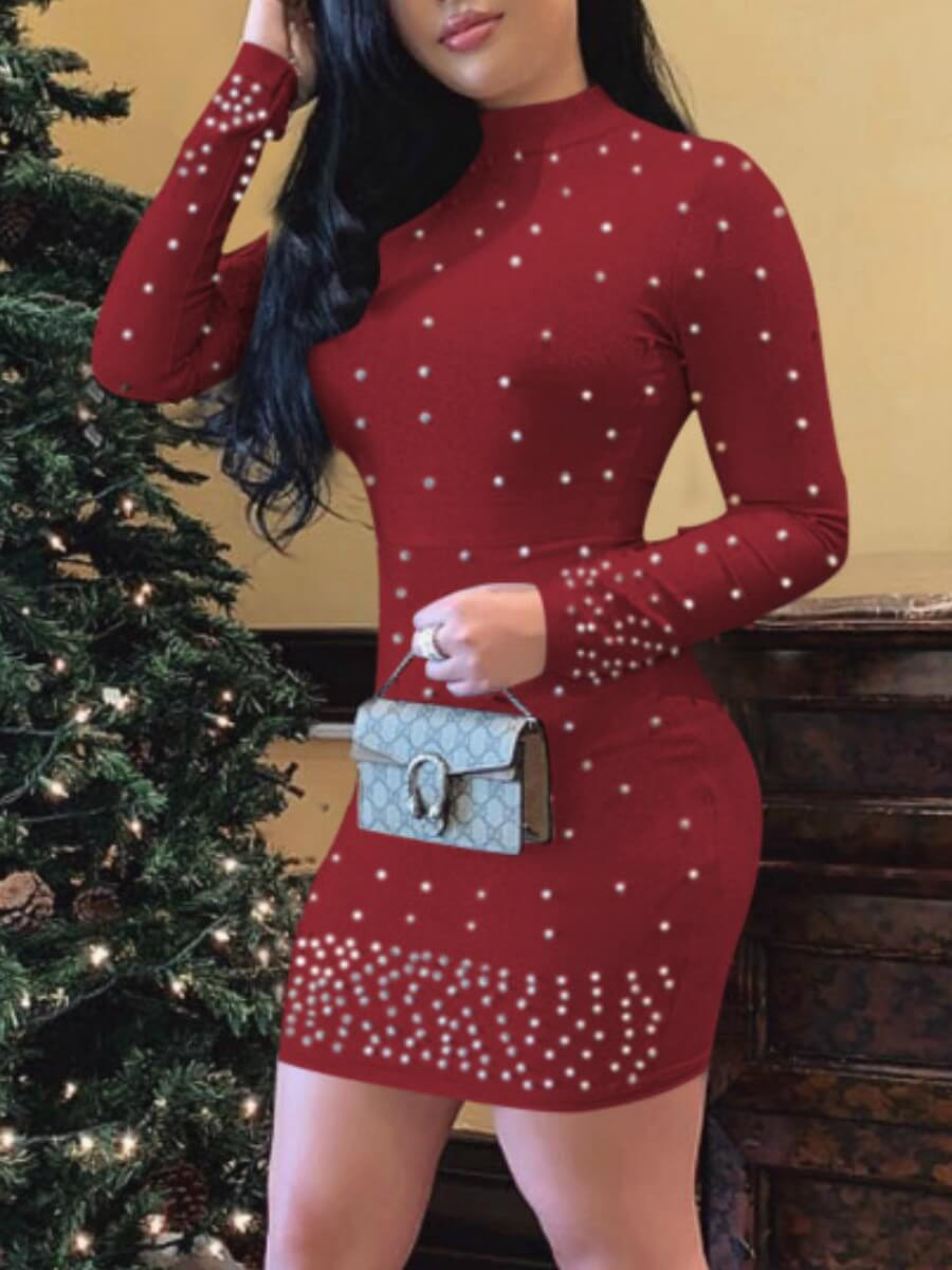 LW Lovely Sexy Turtleneck Nail Bead Design Red Mini Dress