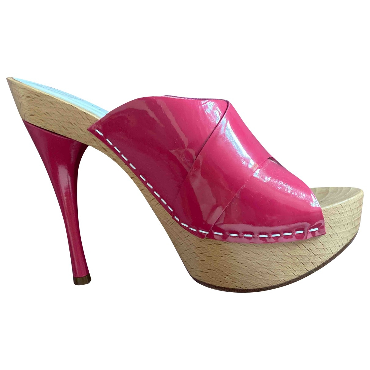 Versace \N Pink Patent leather Mules & Clogs for Women 37 EU