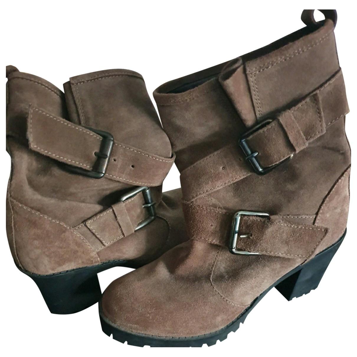 Zara \N Beige Leather Boots for Women 39 EU