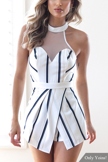 Yoins Crew Neck Stripe Pattern Playsuit