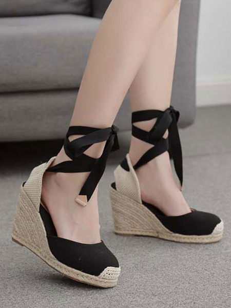 Milanoo Negro cuña sandalias de la manera elegante de la cuña peep toe de tacon de cuña de la mujer