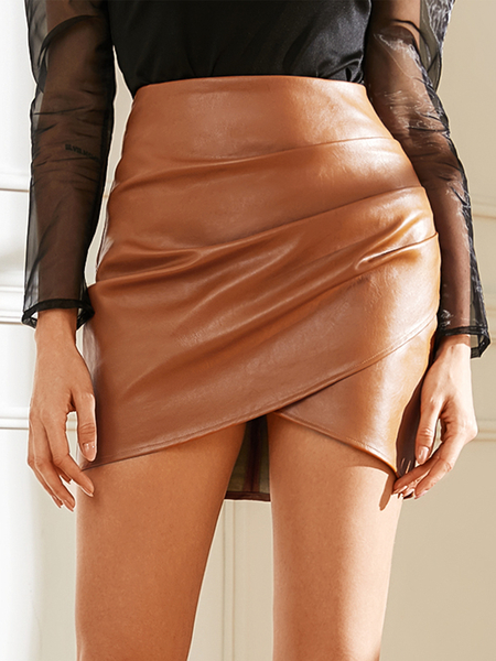 YOINS Brown Criss-cross Ruched High-Waisted Faux Leather Skirt