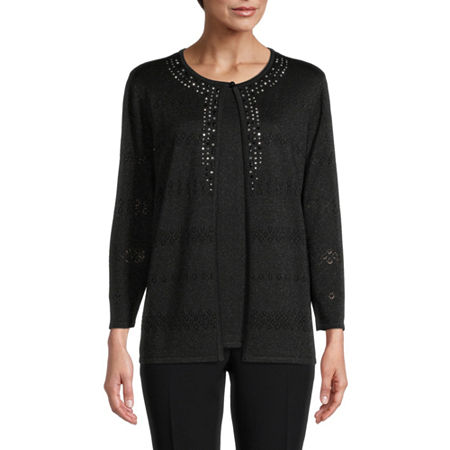 Alfred Dunner Classics Womens Crew Neck 3/4 Sleeve Layered Sweaters, X-large , Black