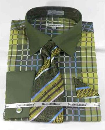 Mens Bold Window Pane Pattern French Cuff Dark Lime With Collar Shirt