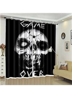 Skull And Letter Pattern 3D Polyester Custom Halloween Scene Curtain For Living Room