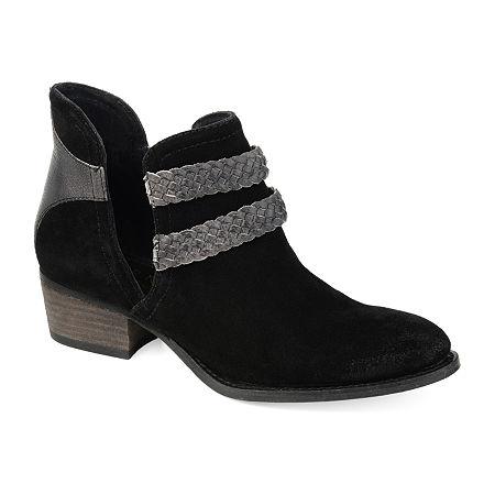 Journee Signature Womens Bernice Booties Stacked Heel, 7 1/2 Medium, Black