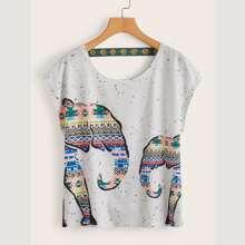 T-Shirt mit Stamm Muster und Umhangaermeln