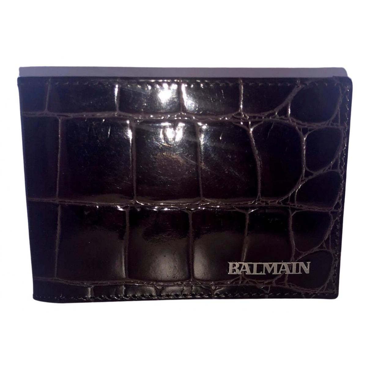 Balmain - Petite maroquinerie   pour homme en cuir - bordeaux