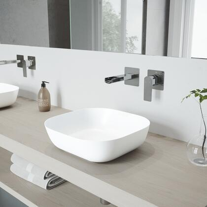VGT973 Camellia Matte Stone Vessel Bathroom Sink Set With Atticus Wall Mount Faucet In