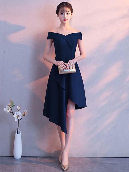 Milanoo Little Black Dresses Asymmetrical Off The Shoulder Cocktail Party Dress wedding guest dress
