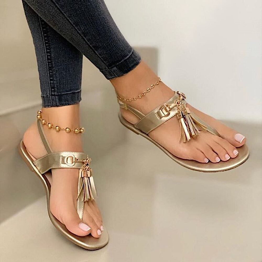 Large Size Women Solid Color Tassel Clip Toe Flat Sandals