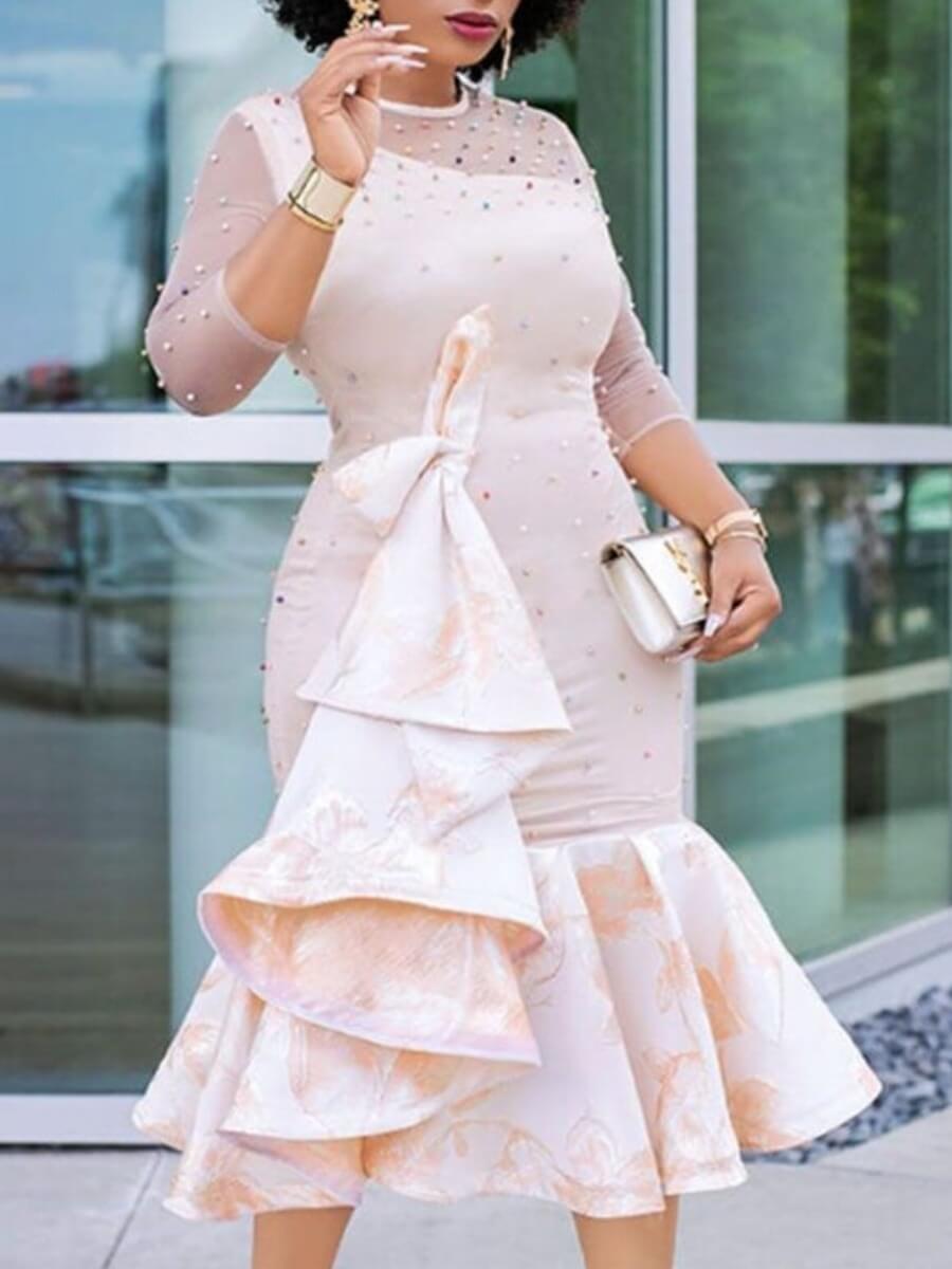 LW Lovely Stylish O Neck Nail Bead Design Apricot Mid Calf Dress