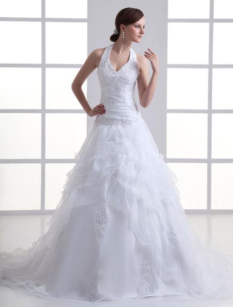 Milanoo Halter White Beading Organza Bridal Wedding Gown