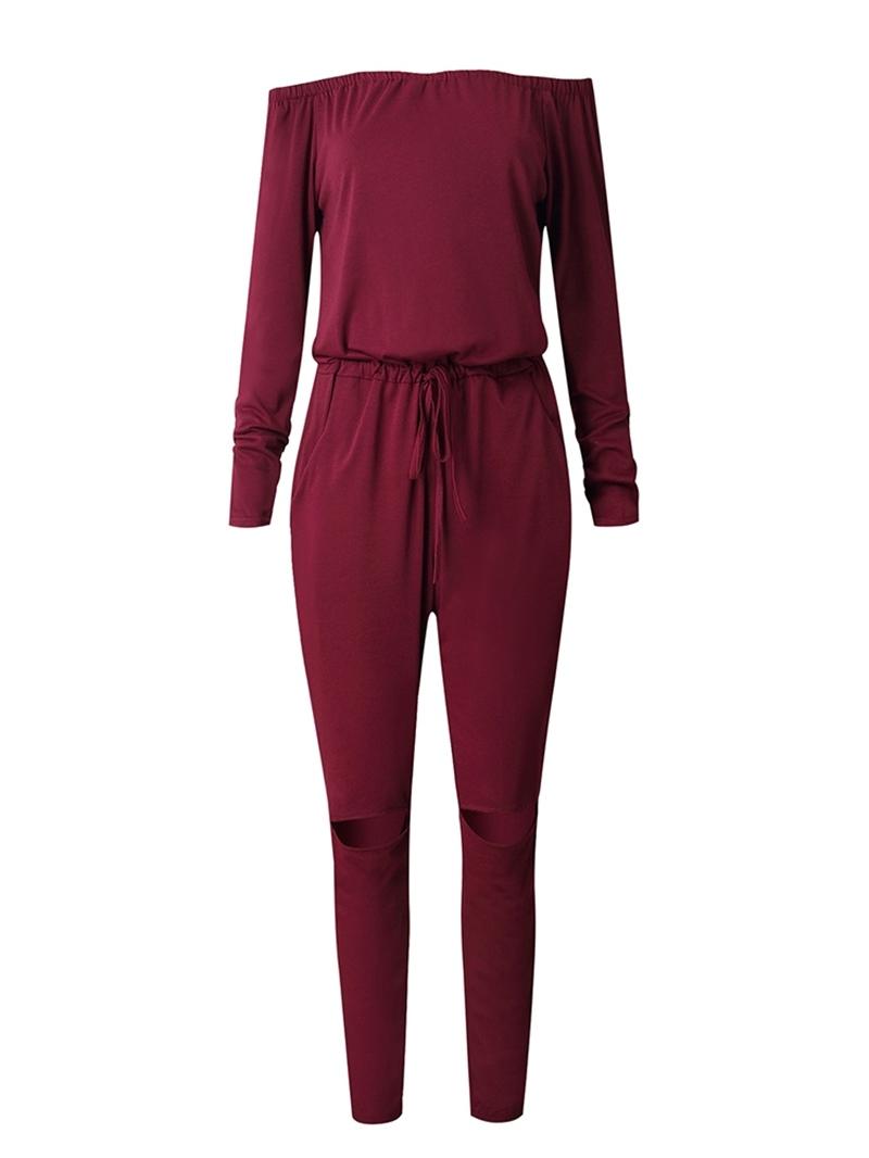 Ericdress Hole Lace-Up Off-Shoulder Skinny Jumpsuit