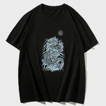 T-Shirt mit chinesischen Schriftzeichen und Drachen Muster