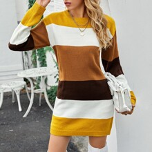 Vestido jersey tejido suave de color combinado