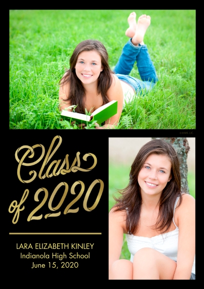 2020 Graduation Announcements 5x7 Cards, Premium Cardstock 120lb with Scalloped Corners, Card & Stationery -Two Tone Gold 2020 Announcement by Hallmar