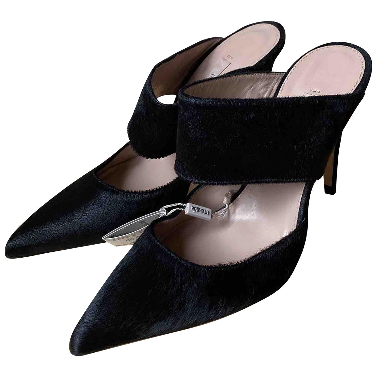 Uterque \N Black Leather Heels for Women 38 EU