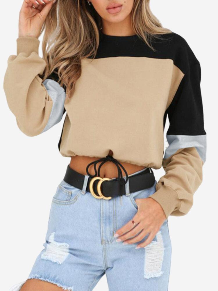 Patch Round Neck Long Sleeve Drawstring Casual Sweatshirt