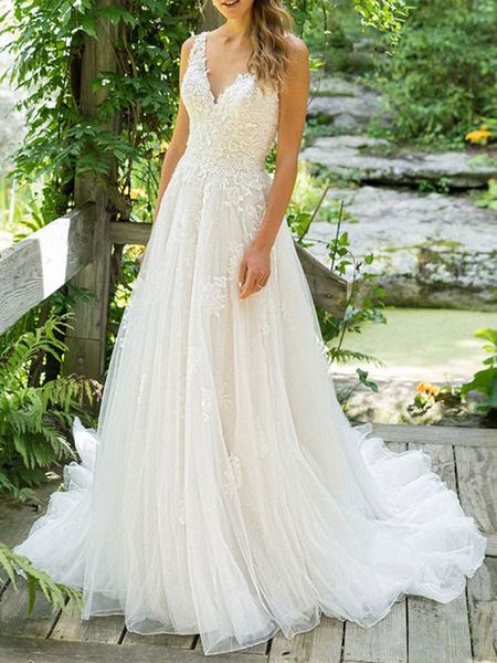 Milanoo Vestido de novia simple 2020 Una linea de cuello en V sin mangas hasta el suelo Vestidos de novia de playa con cola larga