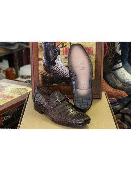 Men's Slip On Loafer Genuine Crocodile Los Altos Shoes Brown
