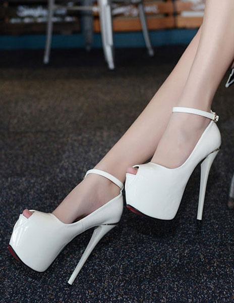 Milanoo Patent PU White Peep Toe Sandals Sexy Platform Sandals For Woman