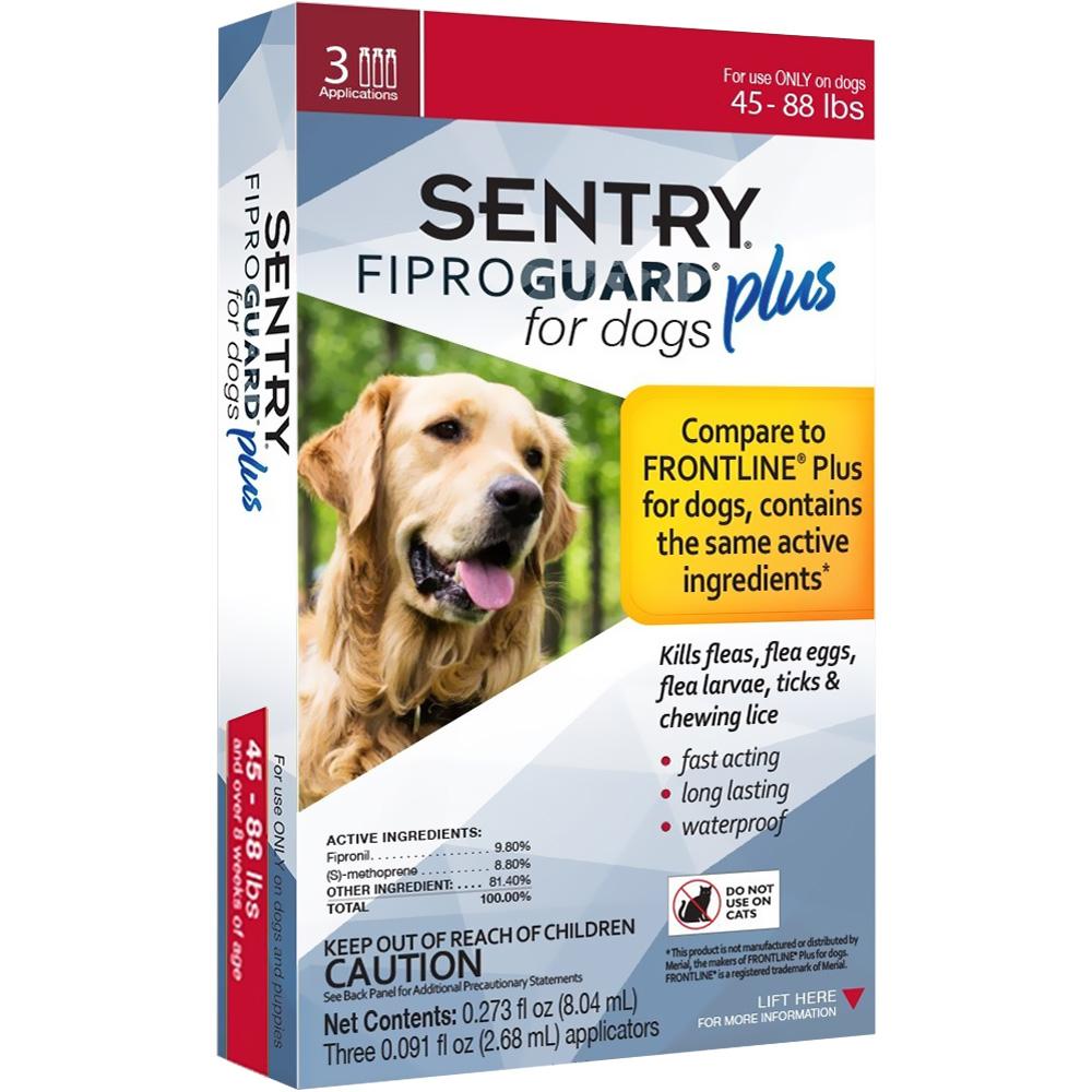 3-PACK SENTRY FiproGuard Plus Flea & Tick Spot-On for Dogs (45-88 lbs)