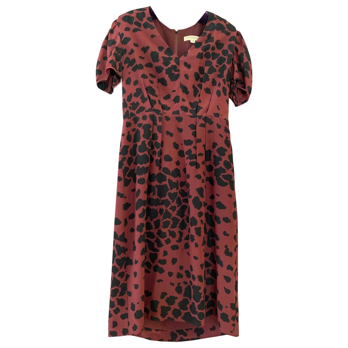 Burberry \N Burgundy Silk dress for Women 8 UK