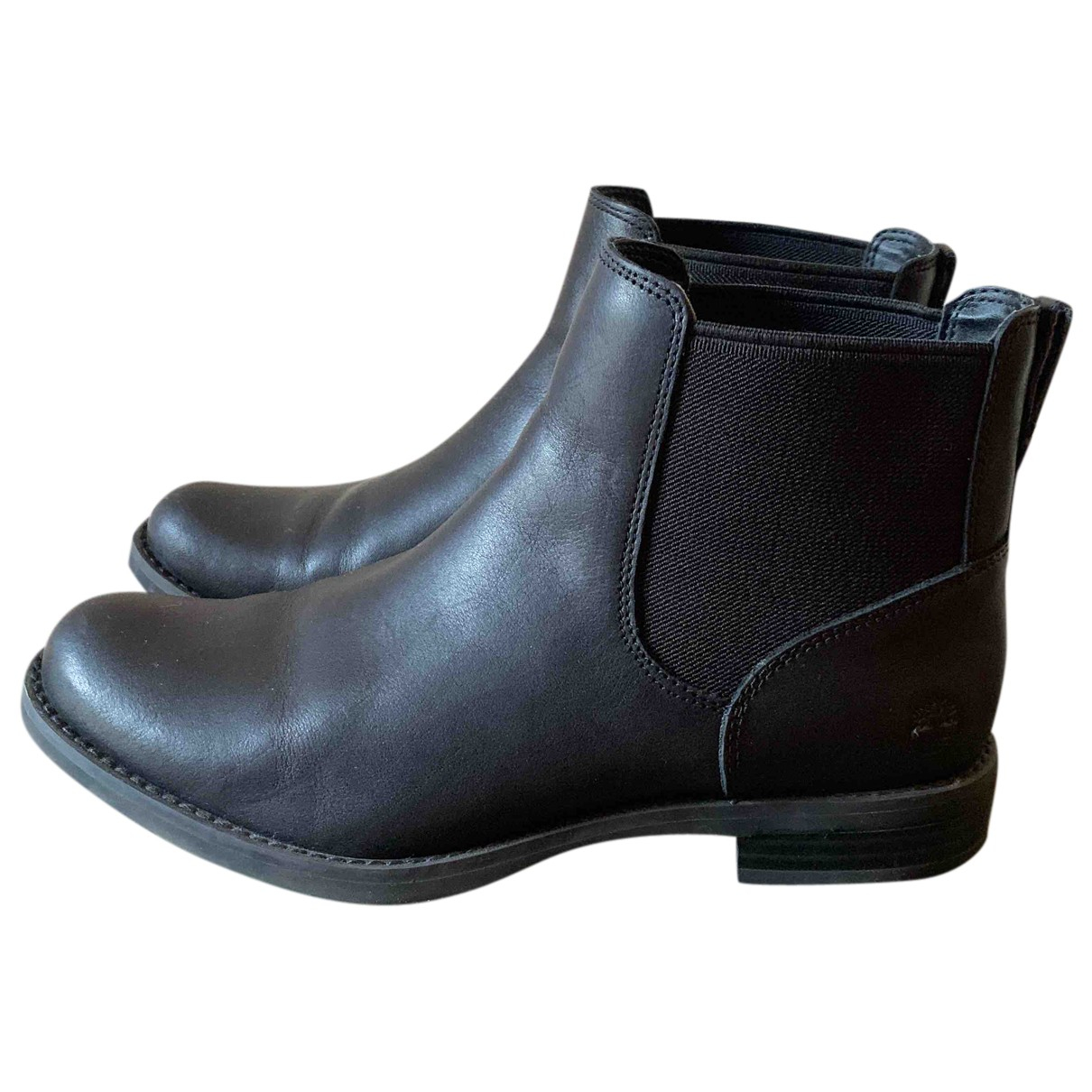 Timberland N Black Leather Ankle boots for Women 38.5 IT