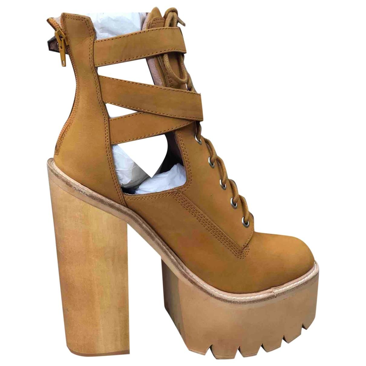Jeffrey Campbell - Boots   pour femme en suede - camel