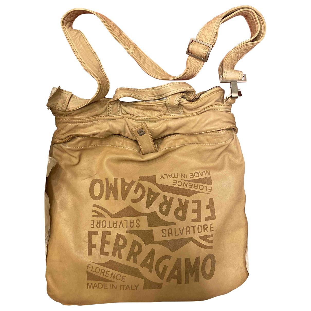 Salvatore Ferragamo - Sac a main   pour femme en cuir - kaki