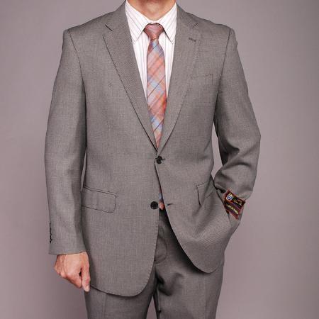 2 Button Gray Birdseye Suit Mens Cheap