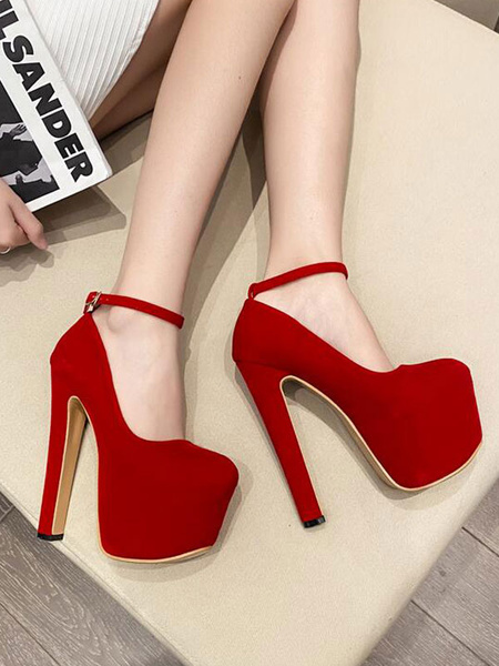 Milanoo Women Sexy High Heels Red Peep Toe Polyurethane Suede Leather Upper Stiletto Sexy Shoes
