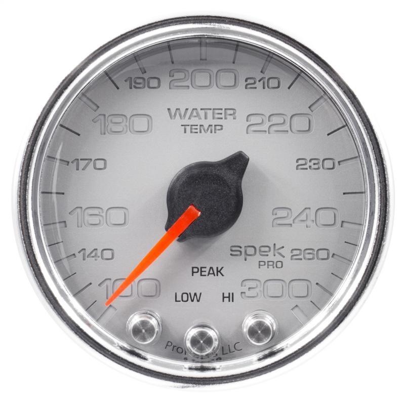 AutoMeter GAUGE; WATER TEMP; 2 1/16in.; 300deg.F; STEPPER MOTOR W/PEAK/WARN; SLVR/CHRM; SP