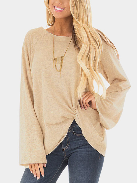Yoins Beige Crossed Front Design Plain Round Neck Flared Sleeves T-shirt