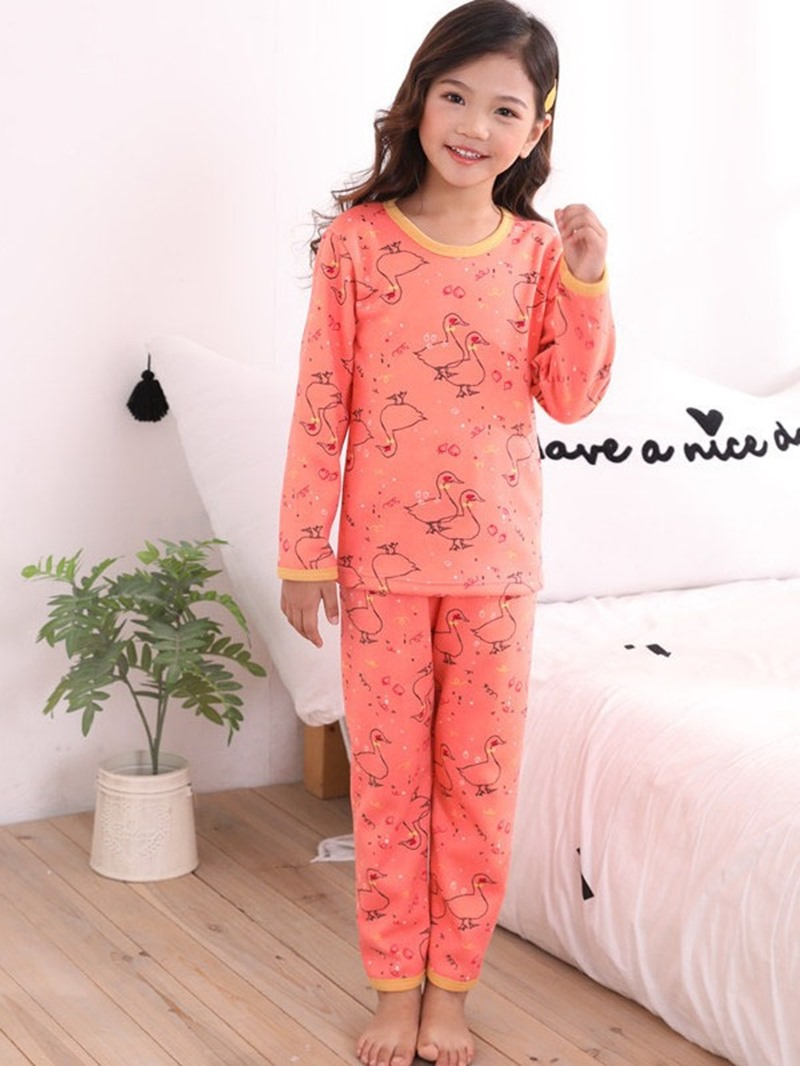 Ericdress Cartoon Printed Patchwork Girl's 2-Pieces Pajamas