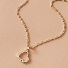 Halskette mit Strass und Herzen Anhaenger 1 Stueck