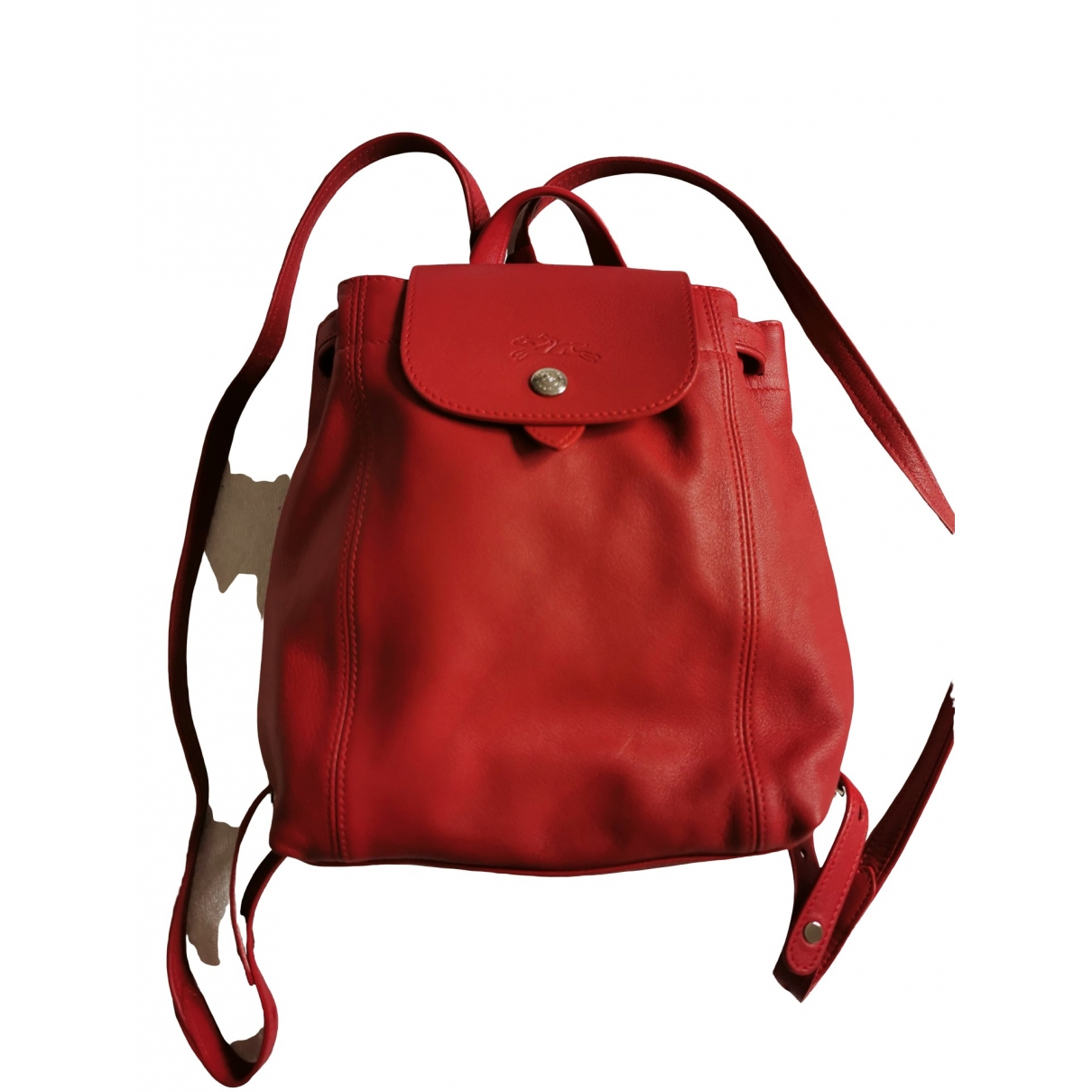 Longchamp Pliage  Red Leather backpack for Women \N