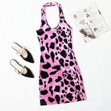 Dalmatian Pattern Velvet Halter Dress Without Belt