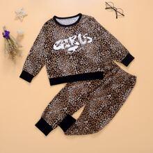 Outfits dos piezas para niña pequeña Ribete en contraste Leopardo Casual