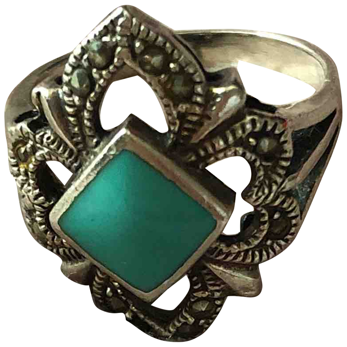 Non Signe / Unsigned Turquoises Ring in  Tuerkis Silber