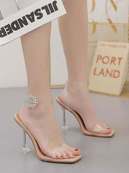 Milanoo High Heel Sandals Womens Rhinestones Transparent Open Toe High Heel Sandals