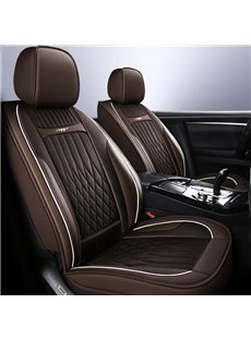 Full Coverage Soft Wear-Resistant Durable Skin-Friendly Man-Made PU Leather Airbag Compatible 5-Seater Universal Fit Seat Covers Include Headrest Pill