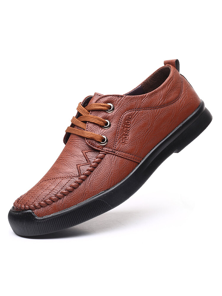 Men Microfiber Loafers Black Brown Lace-up Casual Business Flats