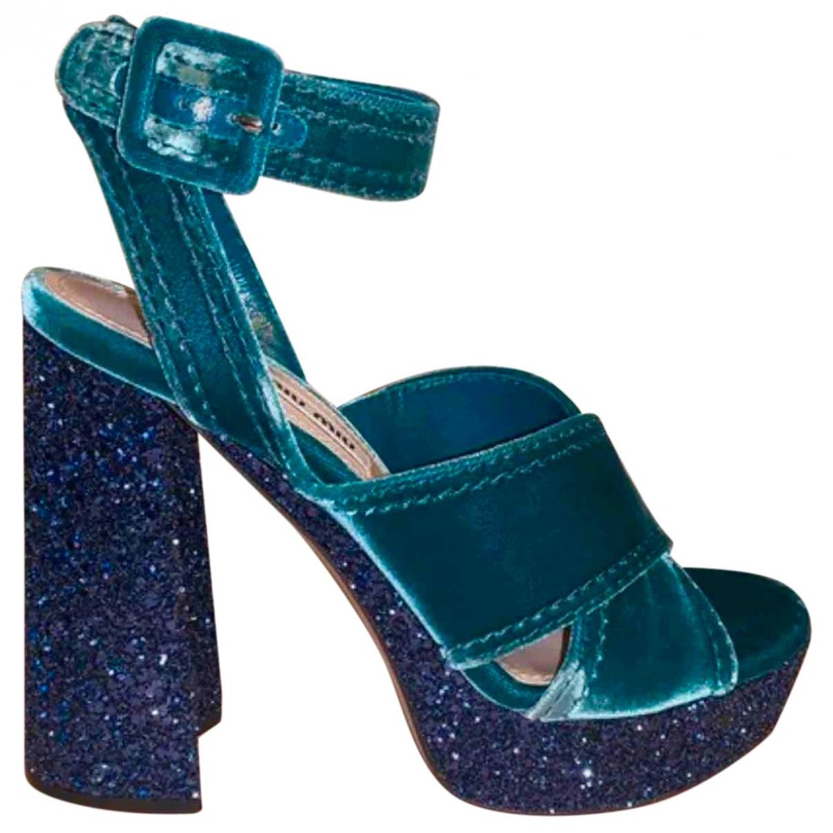 Miu Miu - Sandales   pour femme en velours - bleu
