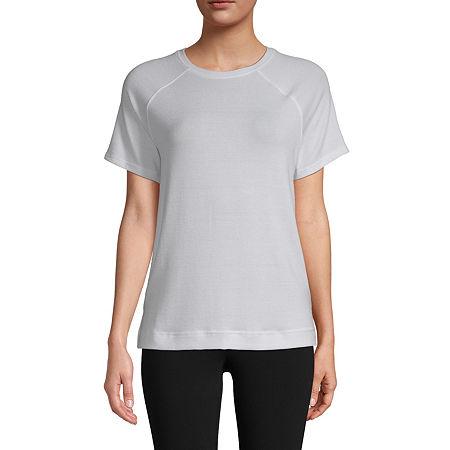 St. John's Bay-Womens Round Neck Short Sleeve T-Shirt, Small , White